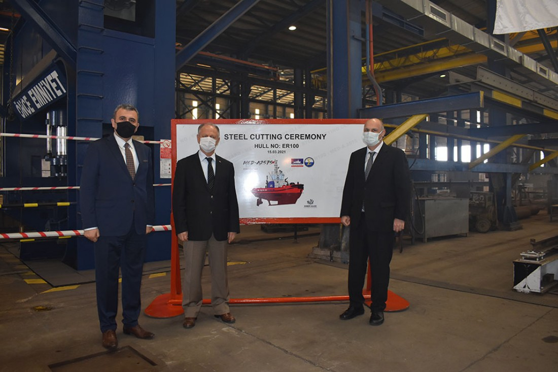 Med Marine Steel Cutting Ceremony of 100th Tugboat At Ereğli Shipyard